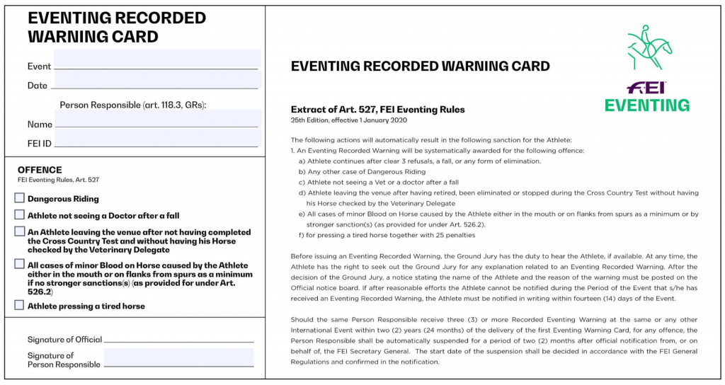 Eventing recorded warning card